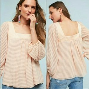 NEW Meadow Rue Allyson Textured striped Top sz S